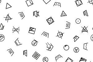 Laundry symbols on white pattern