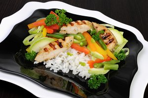 Rice with slices of chicken breast