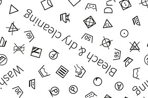 Laundry symbols with text pattern