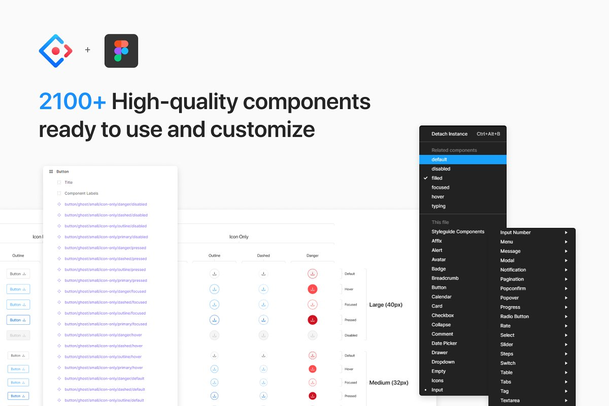 Ant Design System for Figma in Website Templates - product preview 2