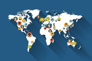 People avatars on world map