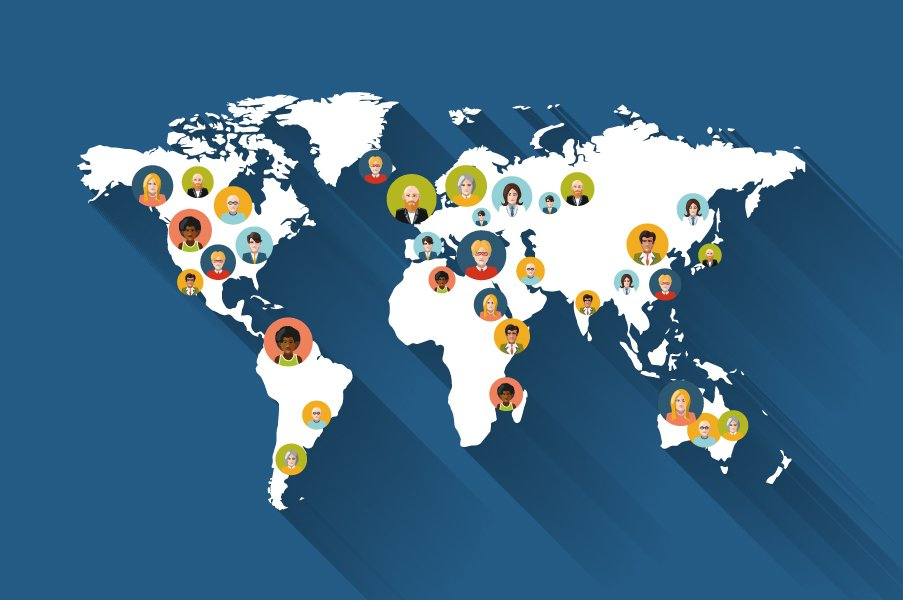People avatars on world map illustrations creative market gumiabroncs Image collections