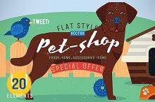 Pet shop set icons. Stylized dog.