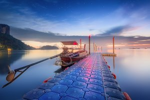 Night tropical landscape. Thailand