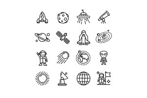 Spase Outline Icons Set. Vector