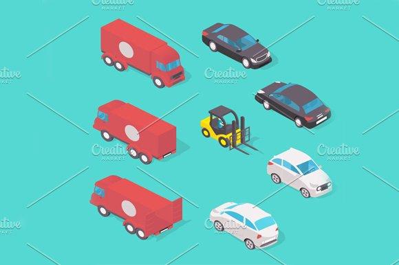Isometric vehicle set in Graphics