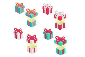 Gift boxes collection with ribbon