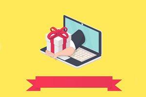 Online delivery/present illustration