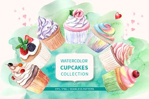 Watercolor cupcakes collection