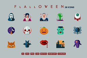 29 Flat Detailed Halloween Icons