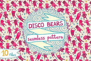 Disco bears seamless pattern