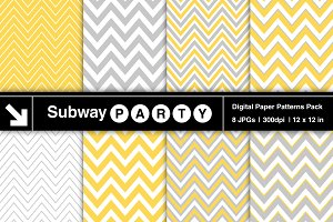 Gray & Yellow Chevron Digital Papers