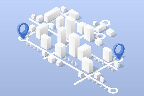 City isometric map