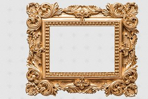 Baroque golden picture frame PNG