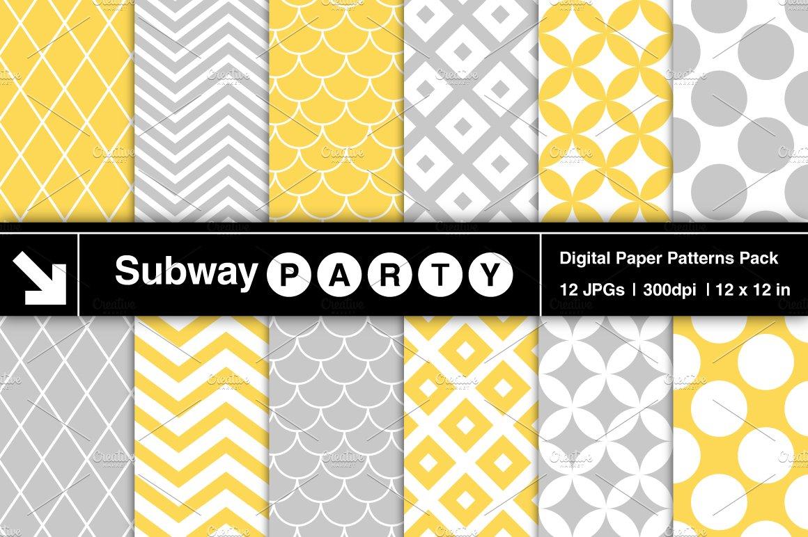 Gray Yellow Retro Geometric Papers Graphic Patterns Creative Market