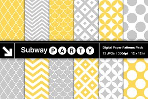 Gray Yellow Retro Geometric Papers
