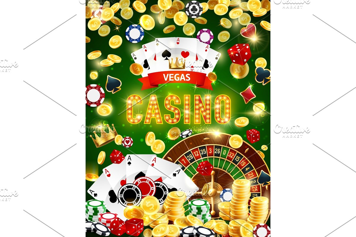 Casino roulette chips, dice, poker