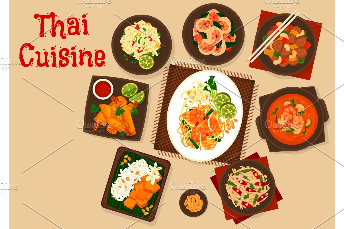 Thai dishes with seafood