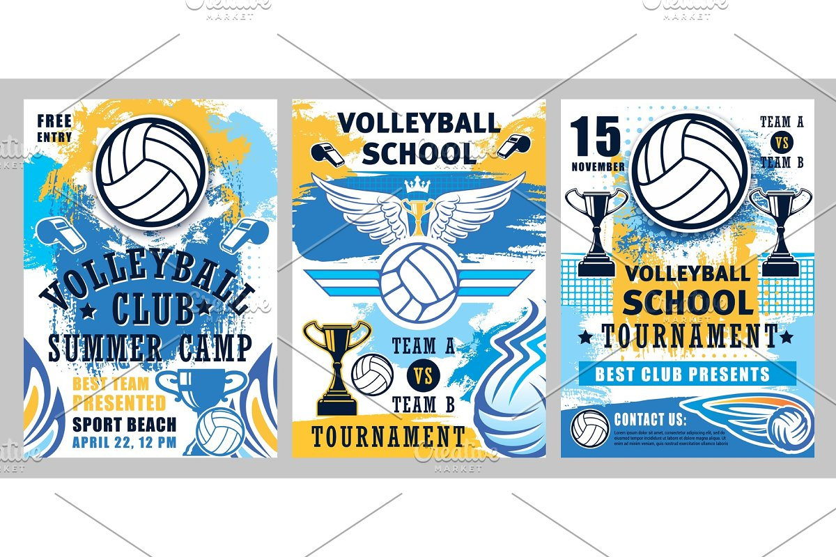 Volleyball balls, trophy cups