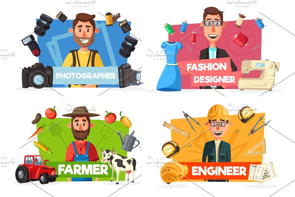 Farmer, tailor, engineer professions