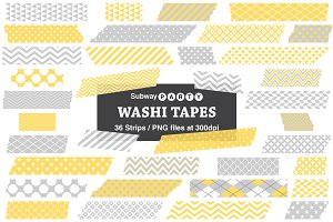 Gray & Yellow Washi Tape Strips