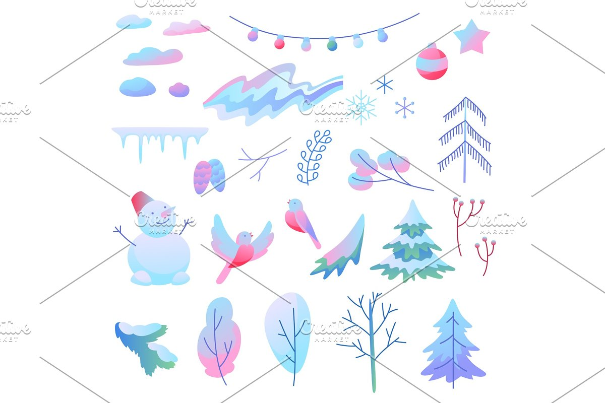 Set of winter items.