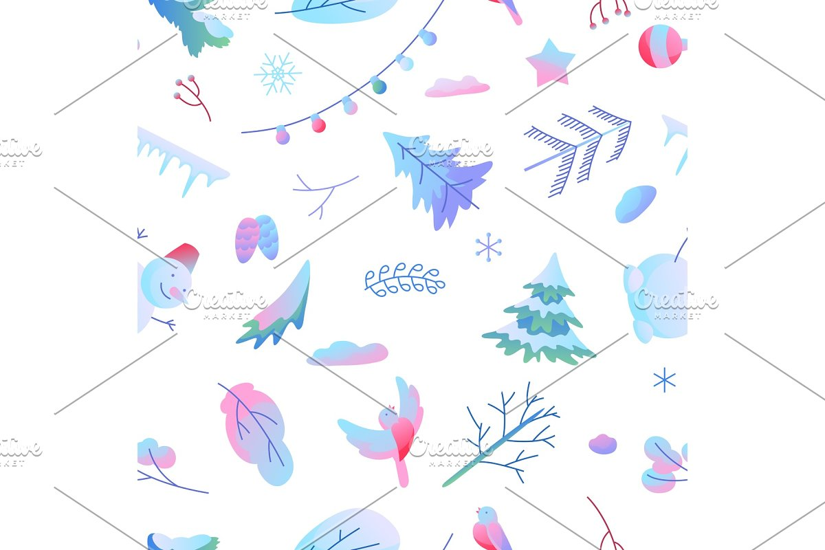 Seamless pattern with winter items.