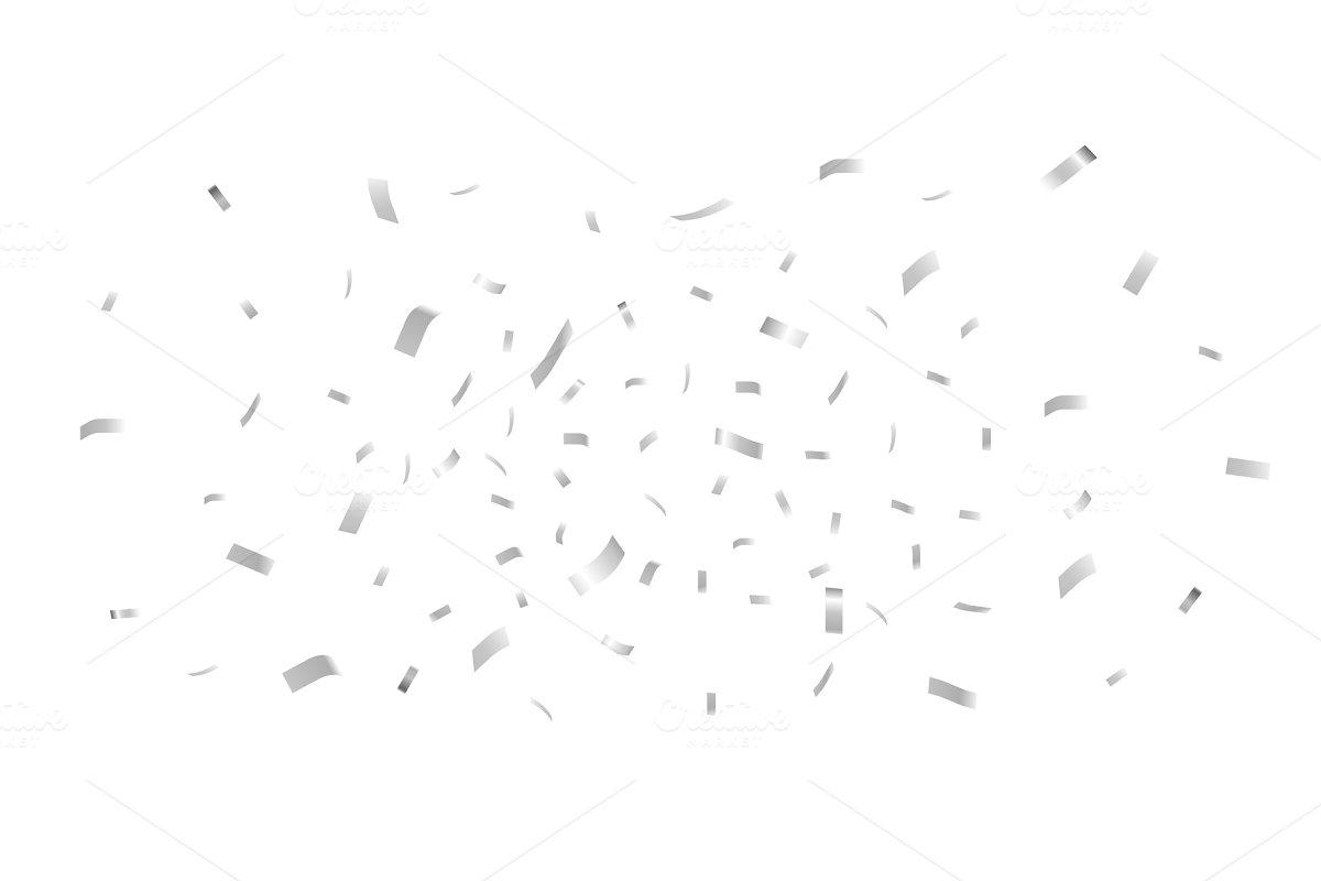 Falling shiny silver confetti