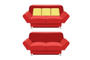 Sofa couch vector. Front view