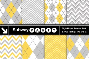 Gray & Yellow Chevron & Argyle