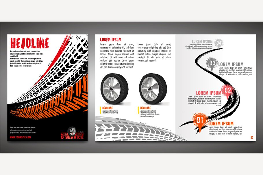 Tire Brochure Template in Illustrations