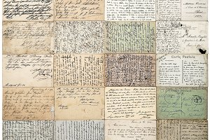 Antique postcards. Old letters