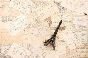 Old postcards Paris Eiffel