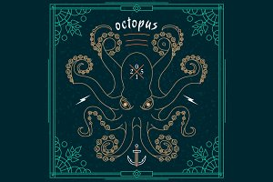 Thin line octopus label