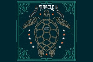 Thin line turtle label