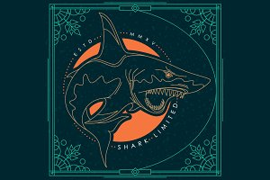 Thin line shark label