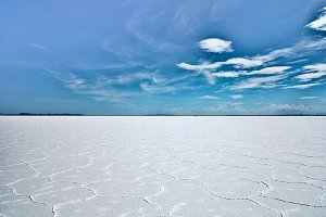 White Salt Desert and Blue Sky