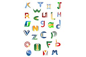Alphabet letters and icons from A to