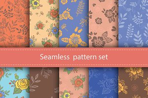 10 Seamless Flower Patterns