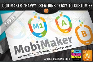 Colorful Flat Mobile Logo Maker Set