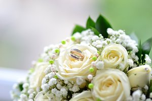wedding bouquet of white roses with