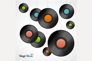 Vinyl Record Set. Vector