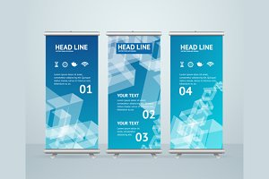 Roll Up Banner Stand Design. Vector