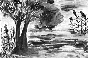 Monochromatic watercolor landscape