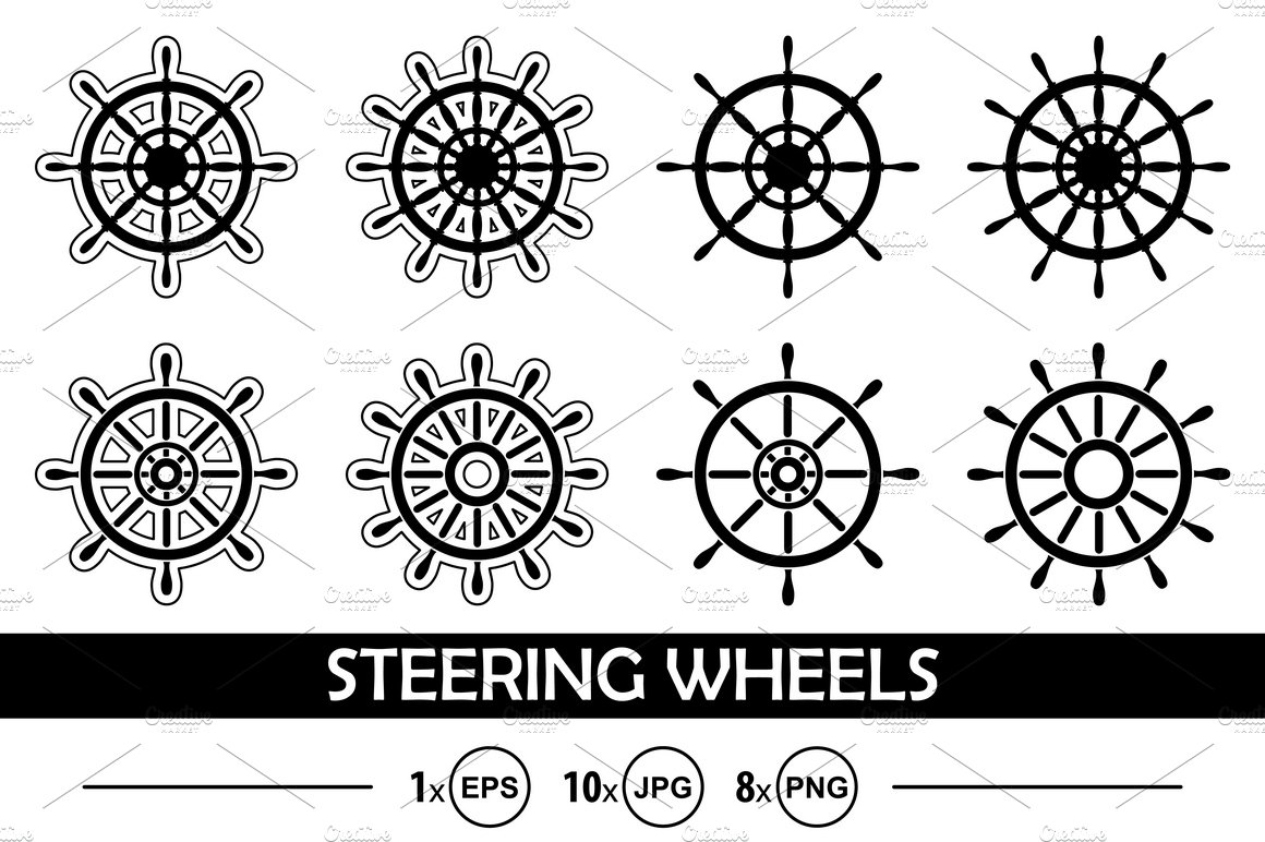 Vector set of ship steering wheels ~ Graphic Objects