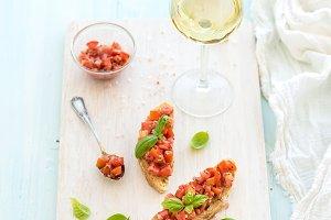 Tomato and basil bruschetta sandwich