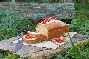 Fruit cake with red currant & almond
