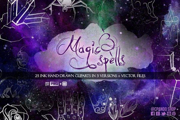 Magic & Spells ink clip art