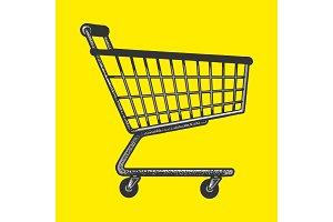 Shopping cart sketch engraving