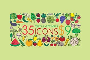 35 Icons - Fruits & Vegetables